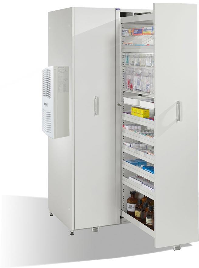 Geöffneter, klimatisierter Stahlschrank MediCool