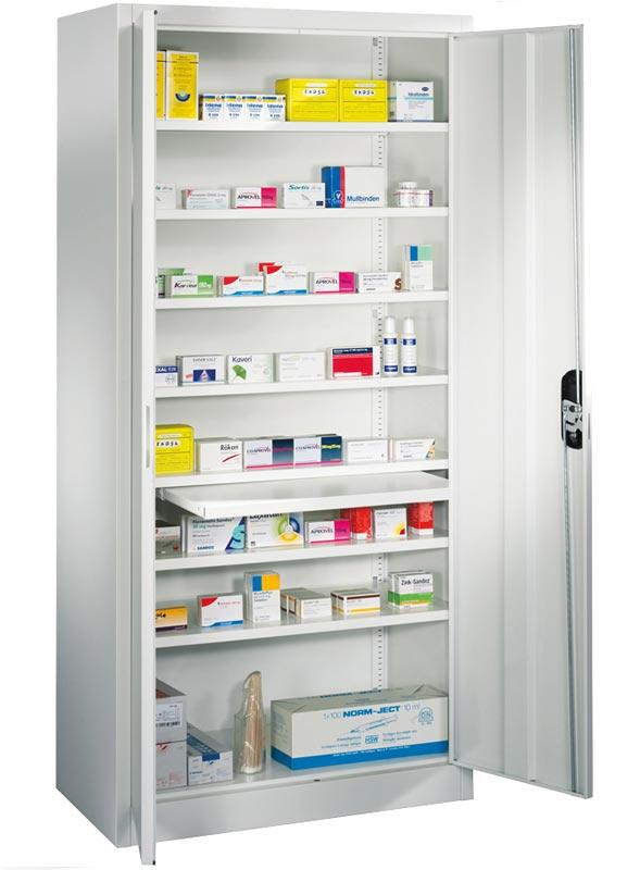Medikamenten-Flügeltürenschrank, 930 mm breit, 400 mm tief